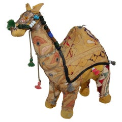 Handcrafted Vintage Stuffed Raj Cotton Embroidered Camel Toy, India, 1950