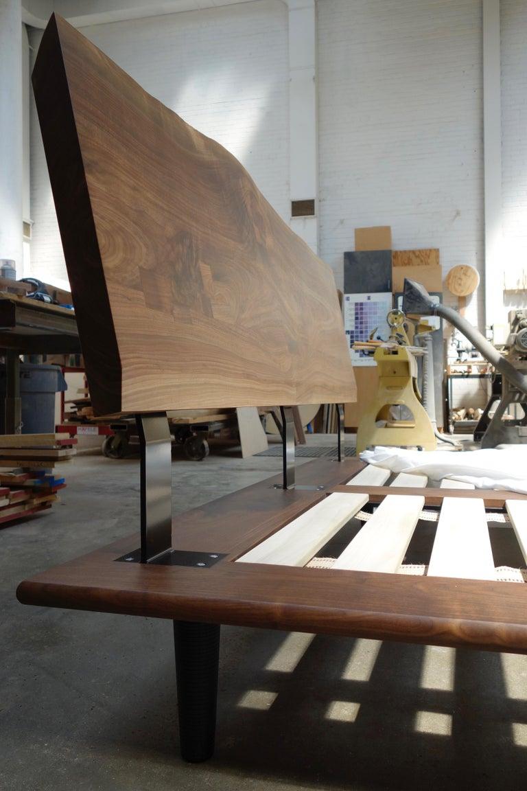 American Handcrafted Walnut Slab Platform Bed, King-sized For Sale