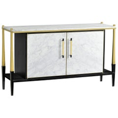 Handcrafted White Calacatta Marble Sideboard