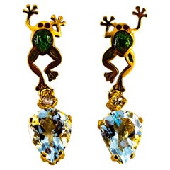 "Handcrafted White Diamond Aquamarine Enamel Yellow Gold Stud ""Frog"" Earrings"