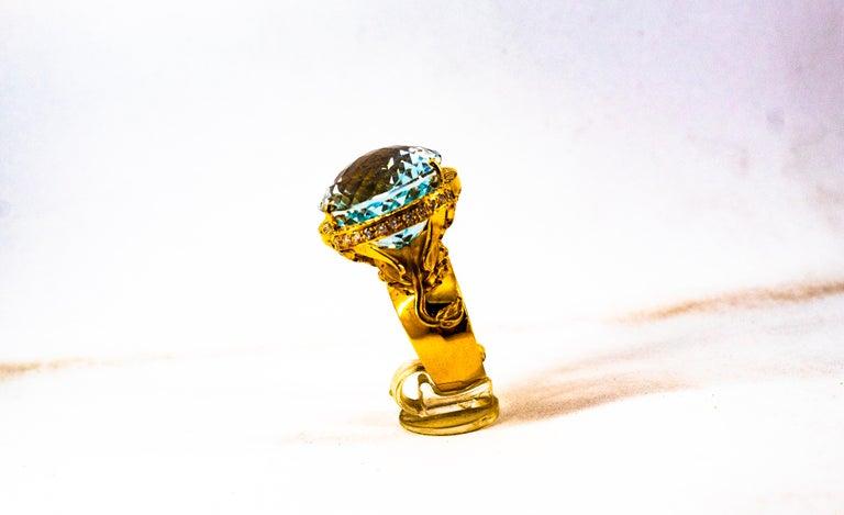 Women's or Men's Handcrafted White Diamond Brazilian Blue Topaz Yellow Gold Cocktail