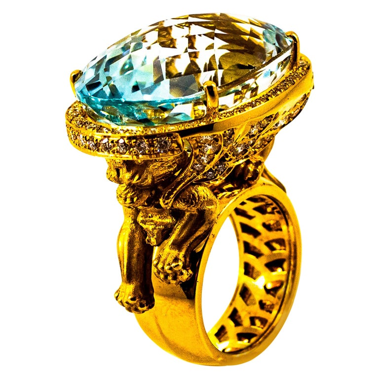 """Handcrafted White Diamond Brazilian Blue Topaz Yellow Gold Cocktail """"Lion"""" Ring For Sale"""