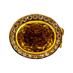 """Handcrafted White Diamond Oval Cut Citrine Yellow Gold Cocktail """"Lion"""" Ring"""