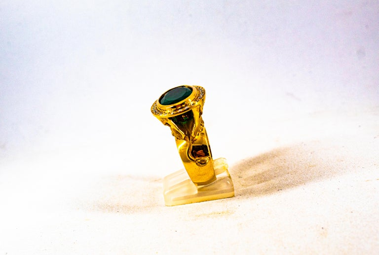 Women's or Men's Handcrafted White Diamond Oval Cut Emerald Yellow Gold Cocktail