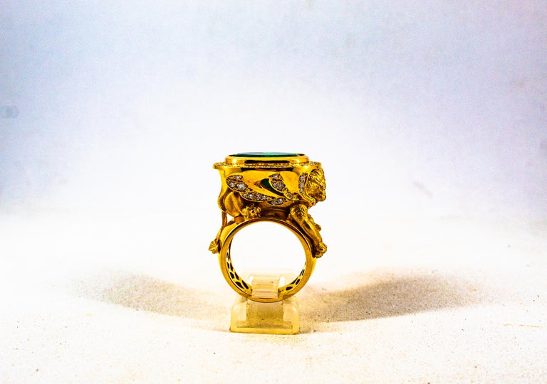 Handcrafted White Diamond Oval Cut Emerald Yellow Gold Cocktail