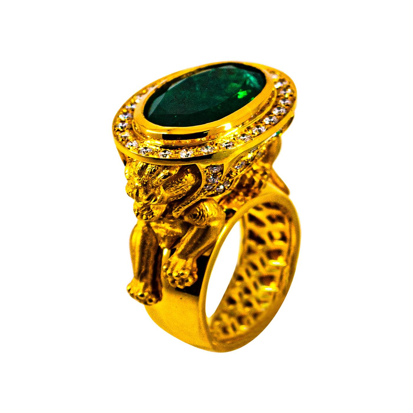 """Handcrafted White Diamond Oval Cut Emerald Yellow Gold Cocktail """"Lion"""" Ring"""