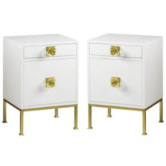 Handcrafted White Lacquer Nightstands with Brass Accents