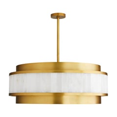 Handcrafted White Marble Chandelier in Brass Frame