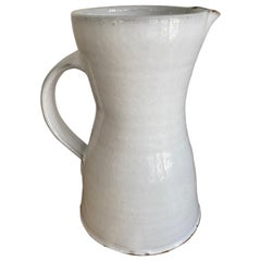 Handcrafted White Stoneware Pitcher by Mats Svensson