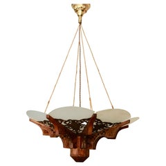 Handcrafted with Carved Wooden Details Pendant Light in Moorish Style