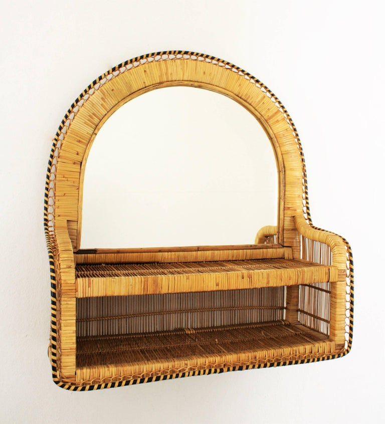 Mid-Century Modern Handcrafted Woven Wicker and Rattan Shelf Mirror, Spain, 1970s For Sale