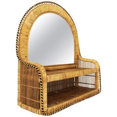 1970s Rattan and Woven Wicker Mirror with Shelf