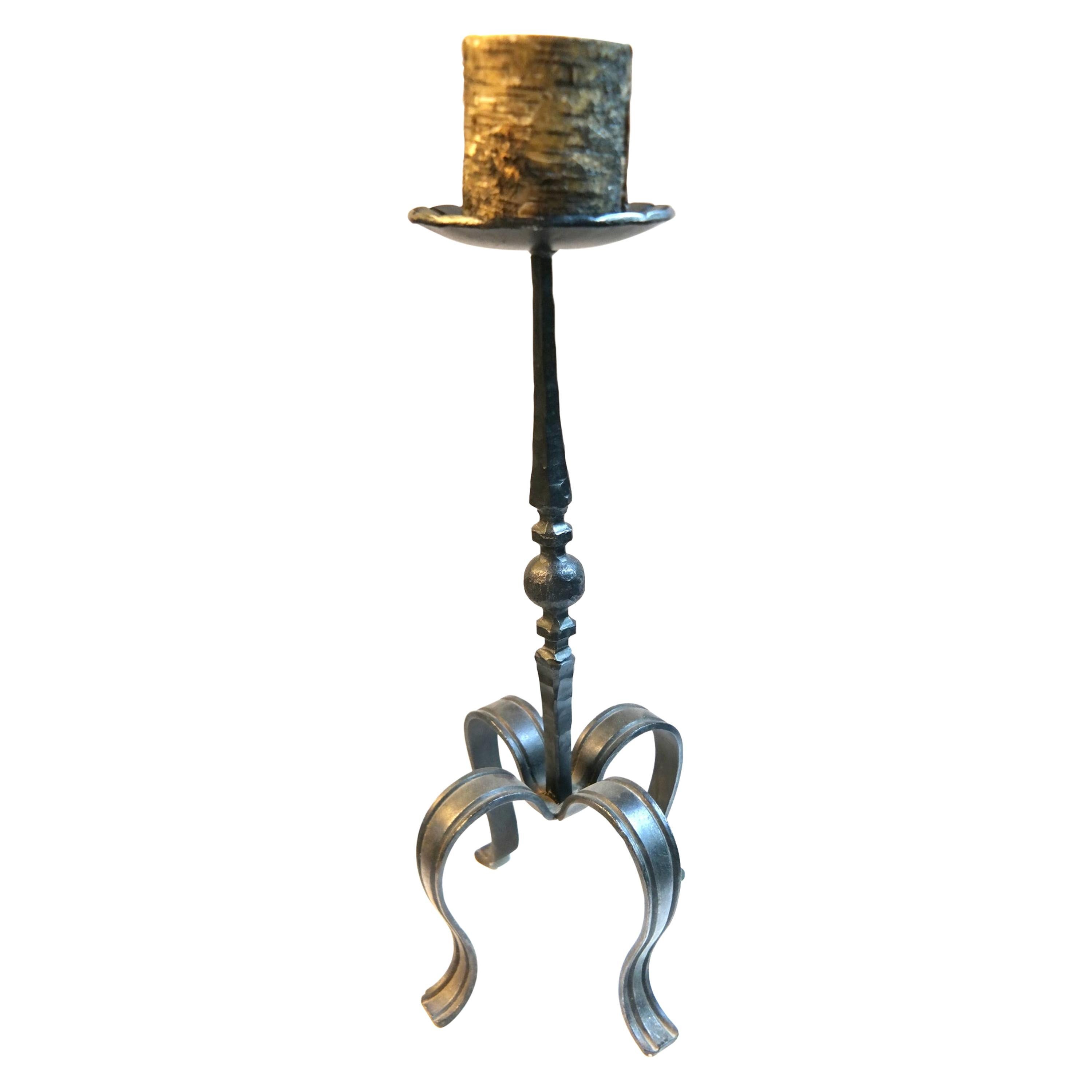 Handcrafted Wrought Iron Floor Candleholder, 1970s
