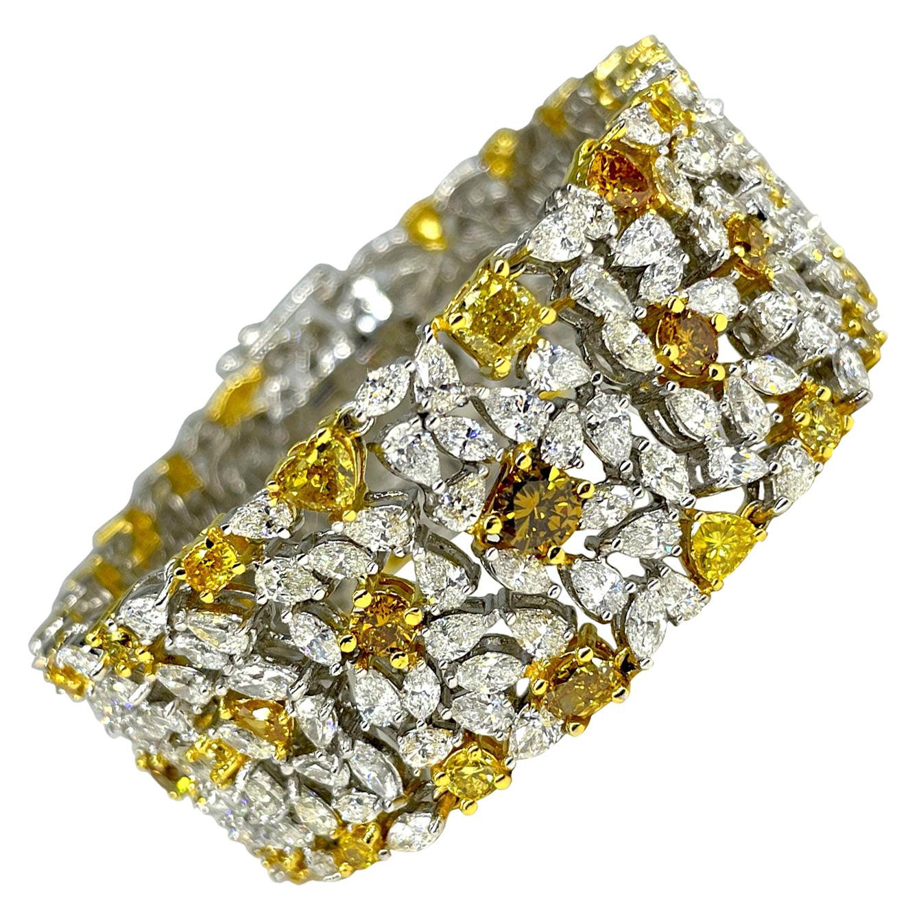 Handcrafted Yellow and White Diamond Bracelet 18kt Gold