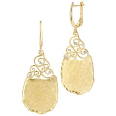 Handcrafted Yellow Gold Handcrafted Filigree Tear-Drop Hammered Earrings