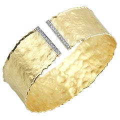 Handcrafted Yellow Gold Handcrafted Hammered Cuff Bracelet