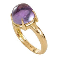 Handcut Cabochon Amethyst Set in 18 Karat Gold Cocktail Ring Made in Italy