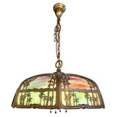 Handel Palm Tree Leaded Stained Glass Dome Light Chandelier