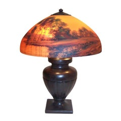 Bronze Lamp Base with Hand Painted Handel Lamp Shade