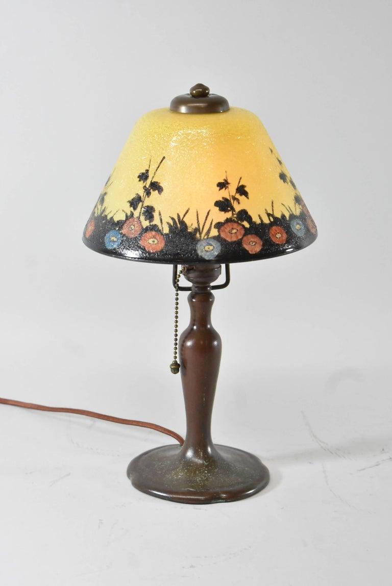 American Handel Reverse Painted Shade Boudoir Lamp For Sale