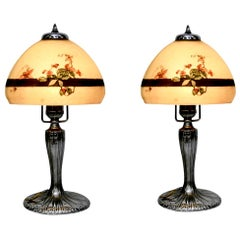 Handel Stained Glass Holly Berry Chipped Ice Boudoir Lamp, Pair, Silvered, 1924