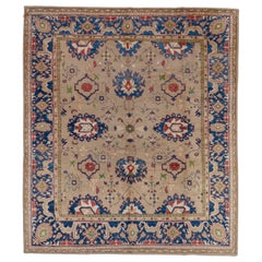 Hand Knotted Turkish Oushak Rug, Beige All-Over Field, Royal Blue Borders
