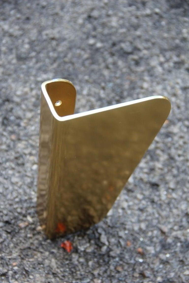 Handle in curved Italian golden aluminum 1960s minimal design geometric.