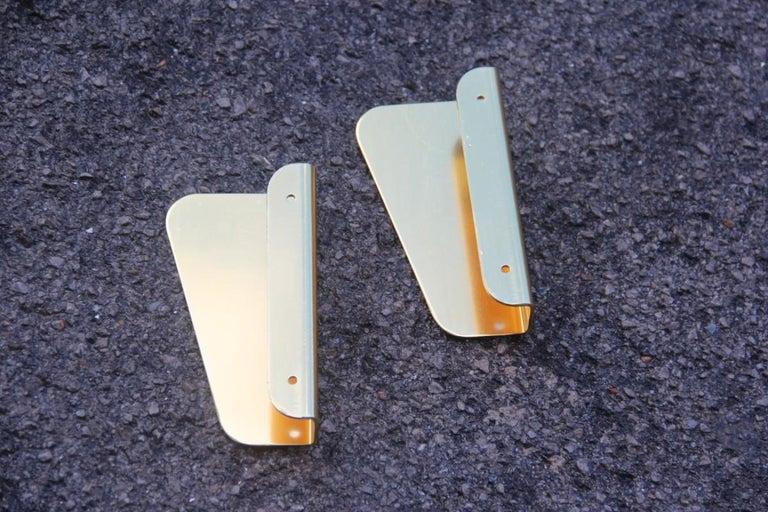 Mid-20th Century Handle in Curved Italian Golden Aluminum 1960s Minimal Design Geometric For Sale