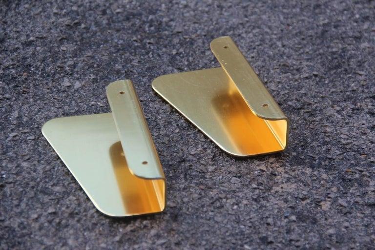 Handle in Curved Italian Golden Aluminum 1960s Minimal Design Geometric For Sale 1