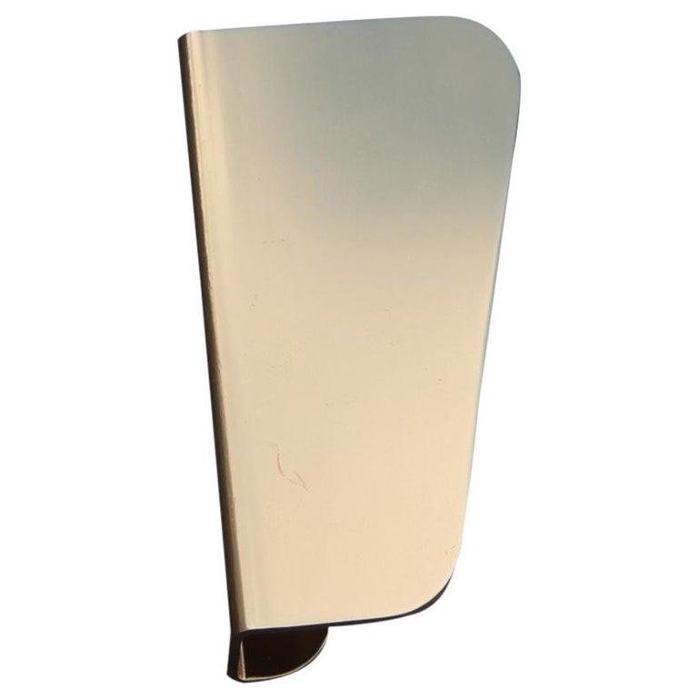 Handle in Curved Italian Golden Aluminum 1960s Minimal Design Geometric For Sale