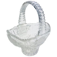 Lalique Style Handled Crystal Candy Dish