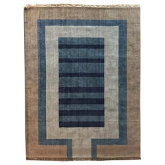 Handloom Blue and Light Grey Wool Rug by Cecilia Setterdahl for Carpets CC
