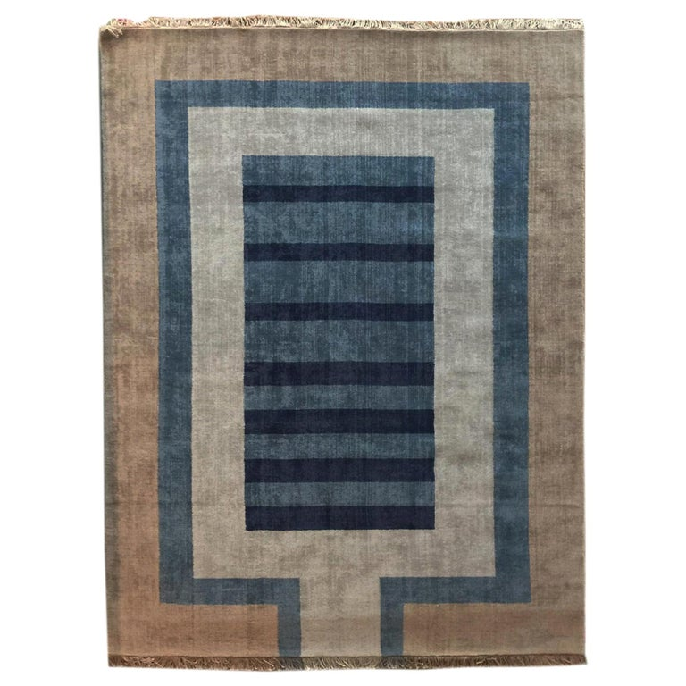 Handloom Blue and Light Grey Wool Rug by Cecilia Setterdahl for Carpets CC For Sale