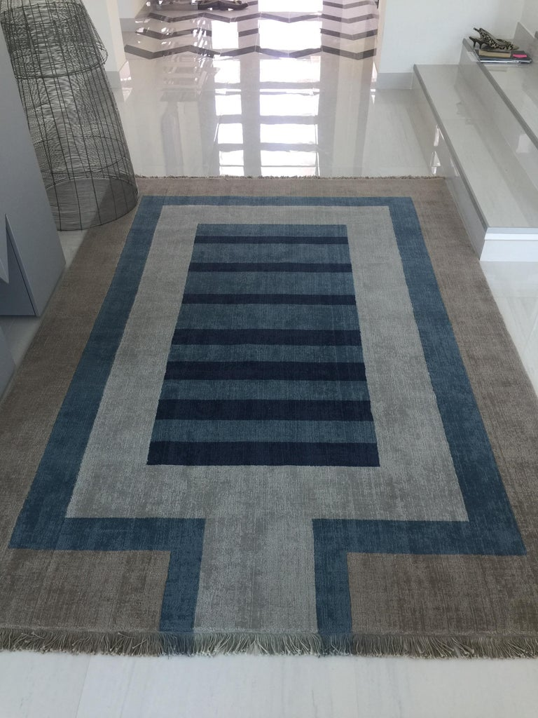 Modern Handloom Blue and Light Grey Wool Rug by Cecilia Setterdahl for Carpets CC For Sale