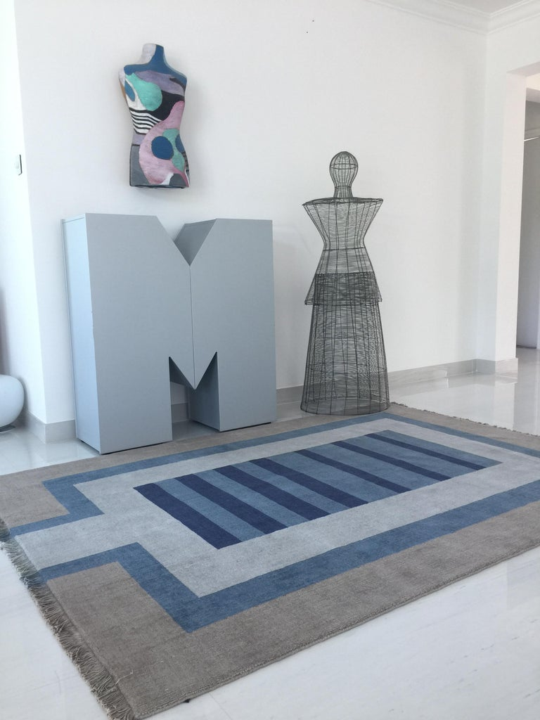Indian Handloom Blue and Light Grey Wool Rug by Cecilia Setterdahl for Carpets CC For Sale