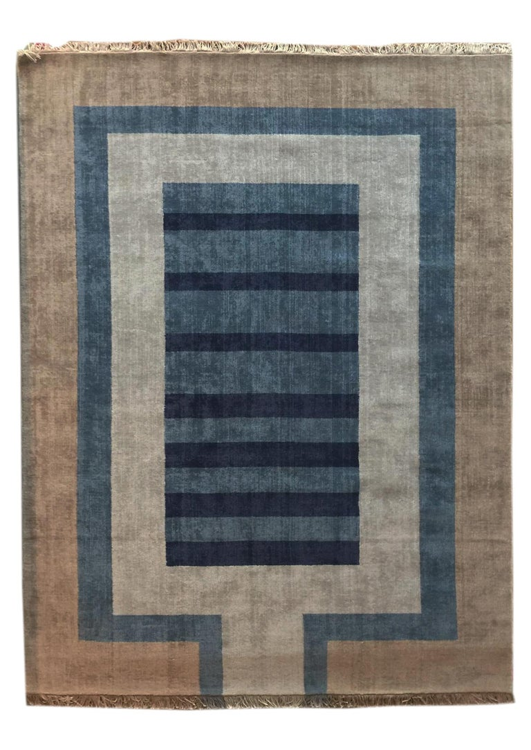 Hand-Knotted Handloom Blue and Light Grey Wool Rug by Cecilia Setterdahl for Carpets CC For Sale