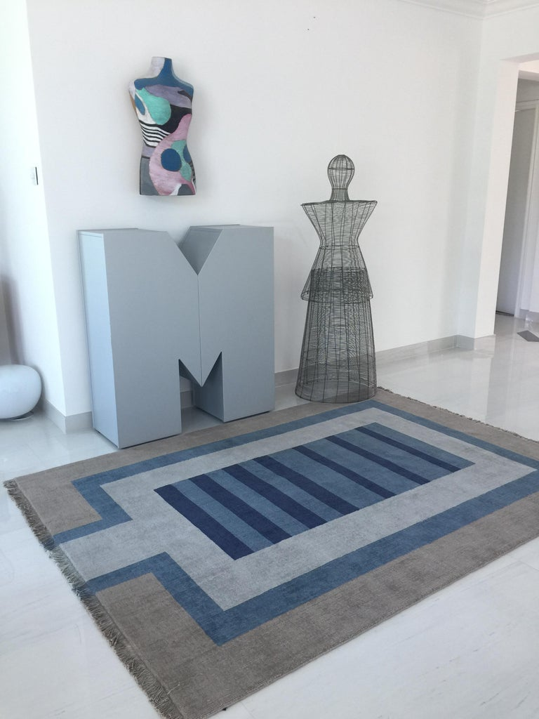 Handloom Blue and Light Grey Wool Rug by Cecilia Setterdahl for Carpets CC In New Condition For Sale In Dubai, AE