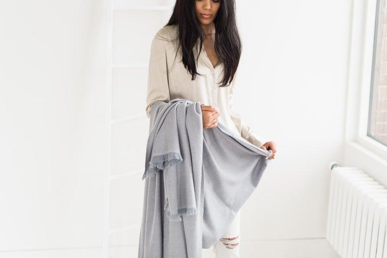 Yarn BORO Handloom Throw / Blanket In Soft Merino Twill Weave For Sale