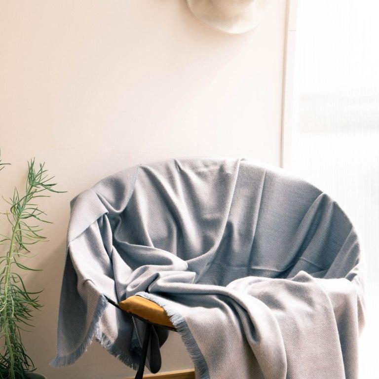 Contemporary BORO Handloom Throw / Blanket In Soft Merino Twill Weave For Sale