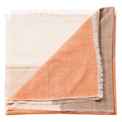 Handloom Chestnut Color Block Bedspread King Size in Soft Merino