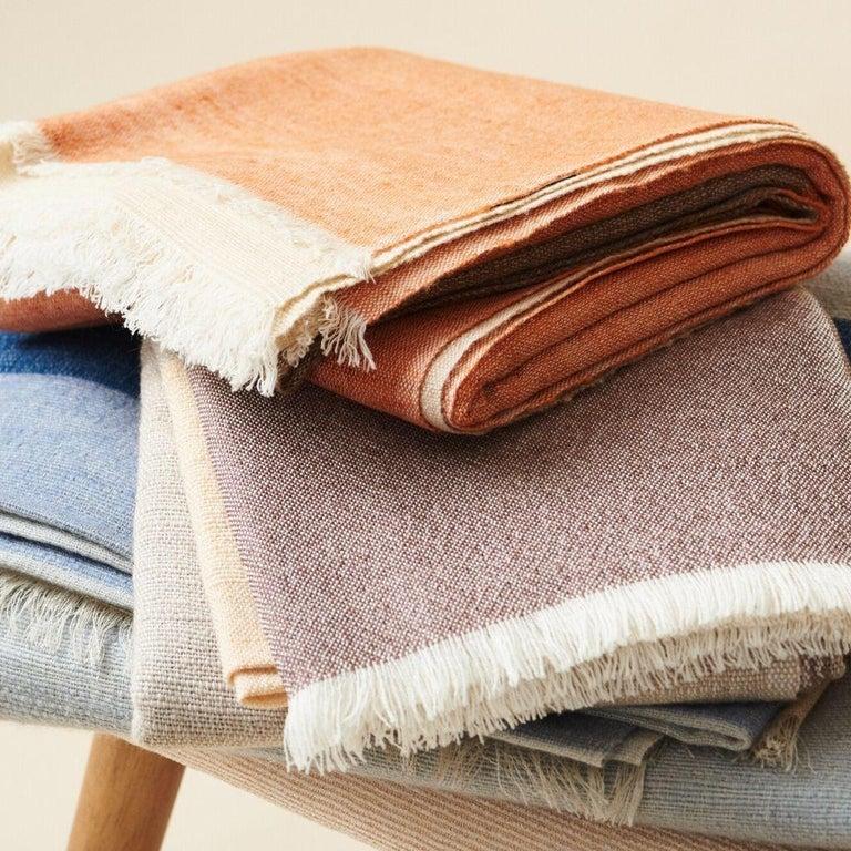 Handloom CHESTNUT Color Block Throw / Blanket In Merino  For Sale 4