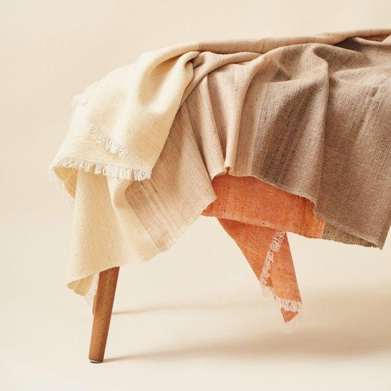 Modern Handloom CHESTNUT Color Block Throw / Blanket In Merino  For Sale