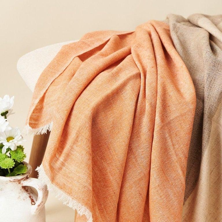 Hand-Woven Handloom CHESTNUT Color Block Throw / Blanket In Merino  For Sale