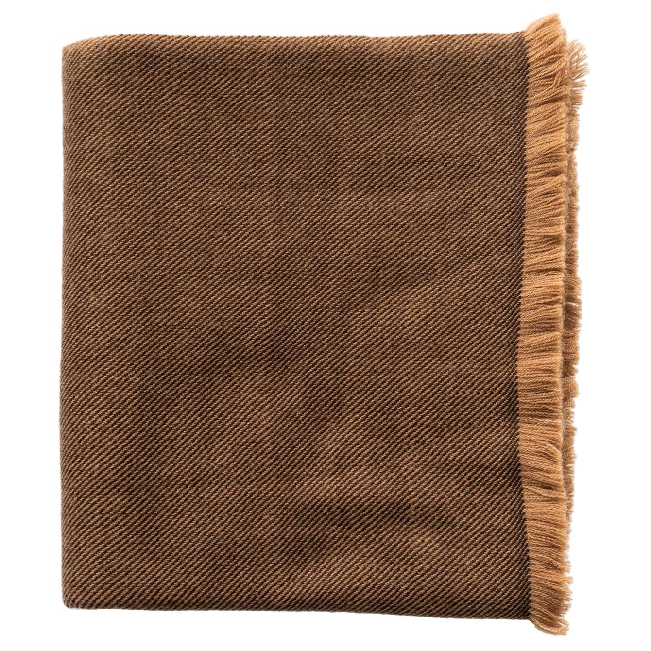 HAY Handloom  Throw / Blanket In Shades of Brown , Soft Merino Twill Weave