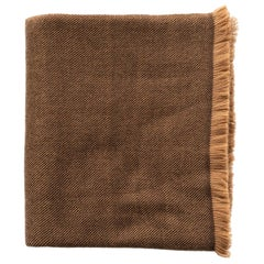 HAY Handloom  Throw / Blanket In Shades of Brown , Soft Merino Twill Weave