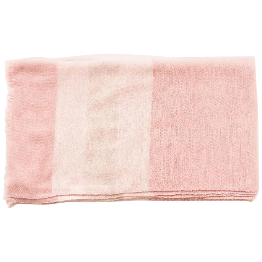 Rosa Plush Handloom Large Throw / Blanket In Merino In Shades of Soft Pink