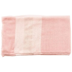 ROSA Plush Handloom Throw / Blanket / Bedspread In Pastel Pink Soft Merino