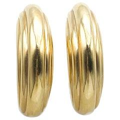 Handmade 14 Karat Yellow Gold Italian Hoop Earrings 12.40 Grams