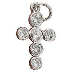 Handmade 14 Karat Gold Natural 0.53 Carat Diamond Small Cross Charm Pendant