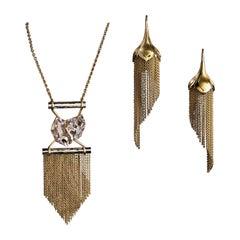 Handmade 18 Carat Gold Tassel Pendants and Matching Chandelier Drop Earrings